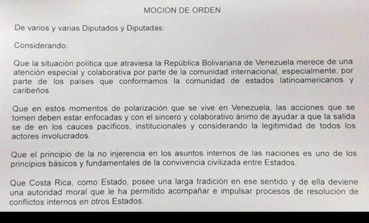 Moción sobre situación en Venezuela.